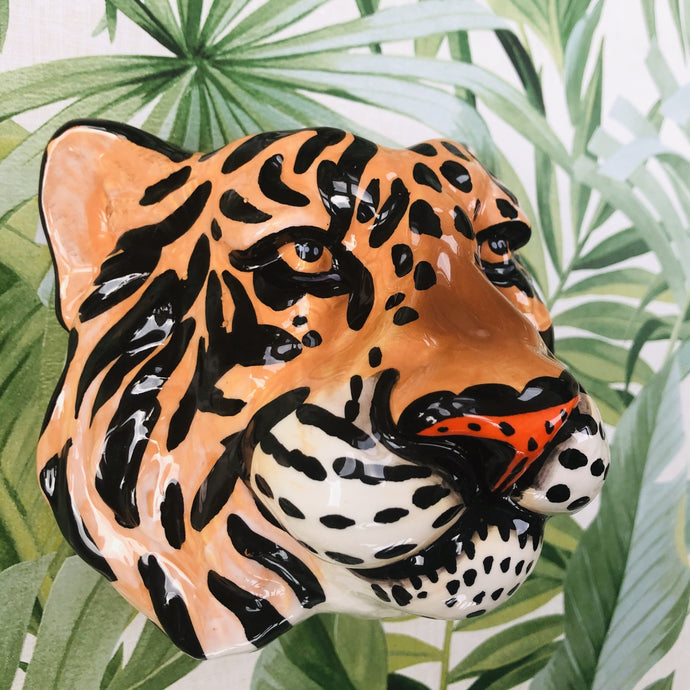 Ceramic Tiger Head Wall Sconce Vase - ad&i