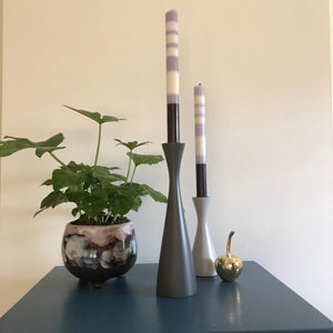 Gunmetal Tall Wooden Candlestick Holder - ad&i