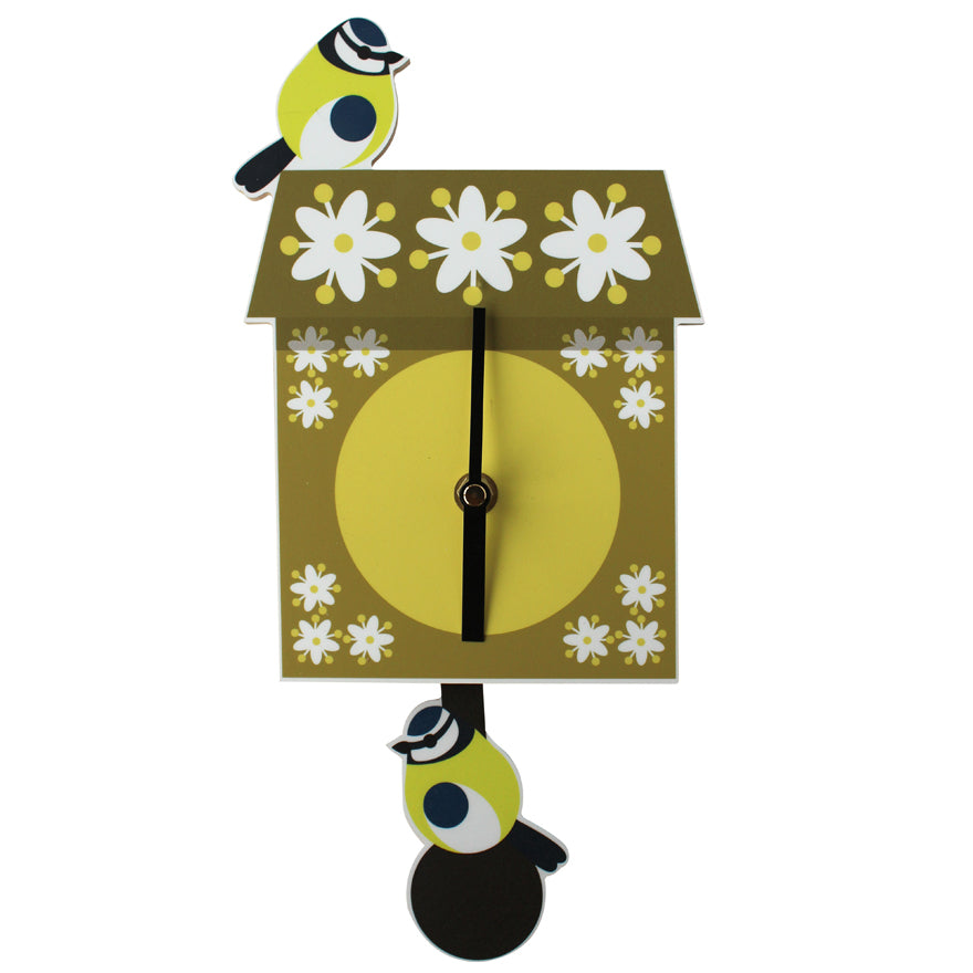 Blue Tit Pendulum Wall Clock