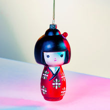 Load image into Gallery viewer, Kokeshi Doll Shaped Christmas Tree Bauble