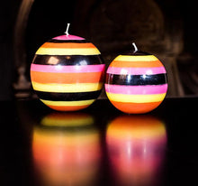 Load image into Gallery viewer, Orange Flame, Neyron Rose, Sulphur Yellow and Jet Black Large Stripe Ball Candle - ad&i