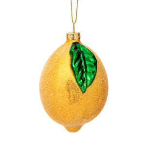 Shimmering Lemon Shaped Christmas Tree Bauble