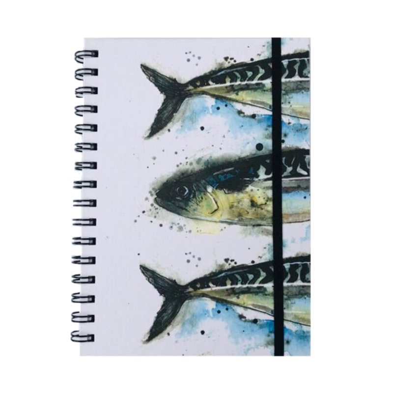 Mackerel Print A5 Hardback Spiral Bound Notebook