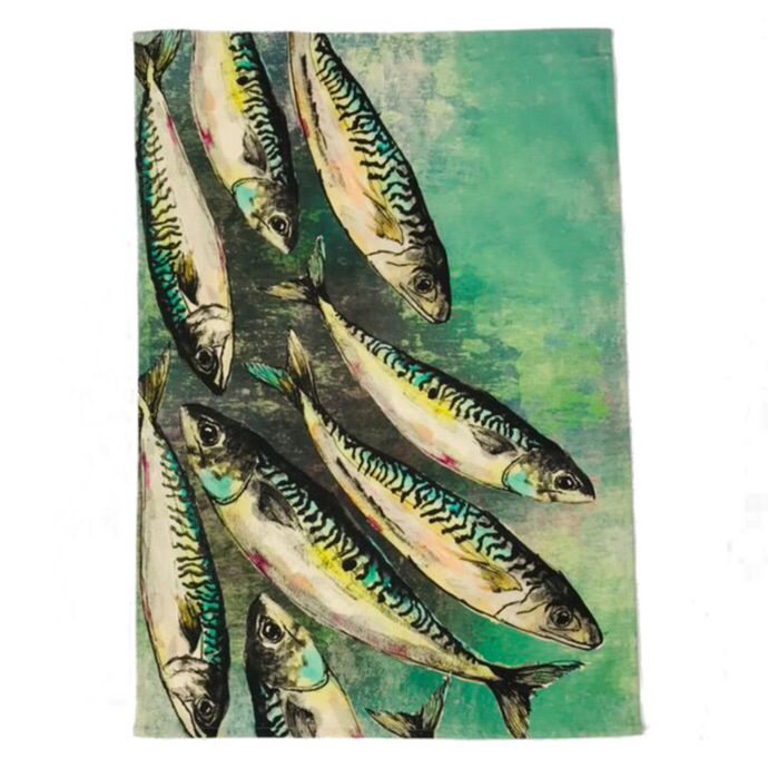 Mackerel Shoal Tea Towel Dollyhotdogs