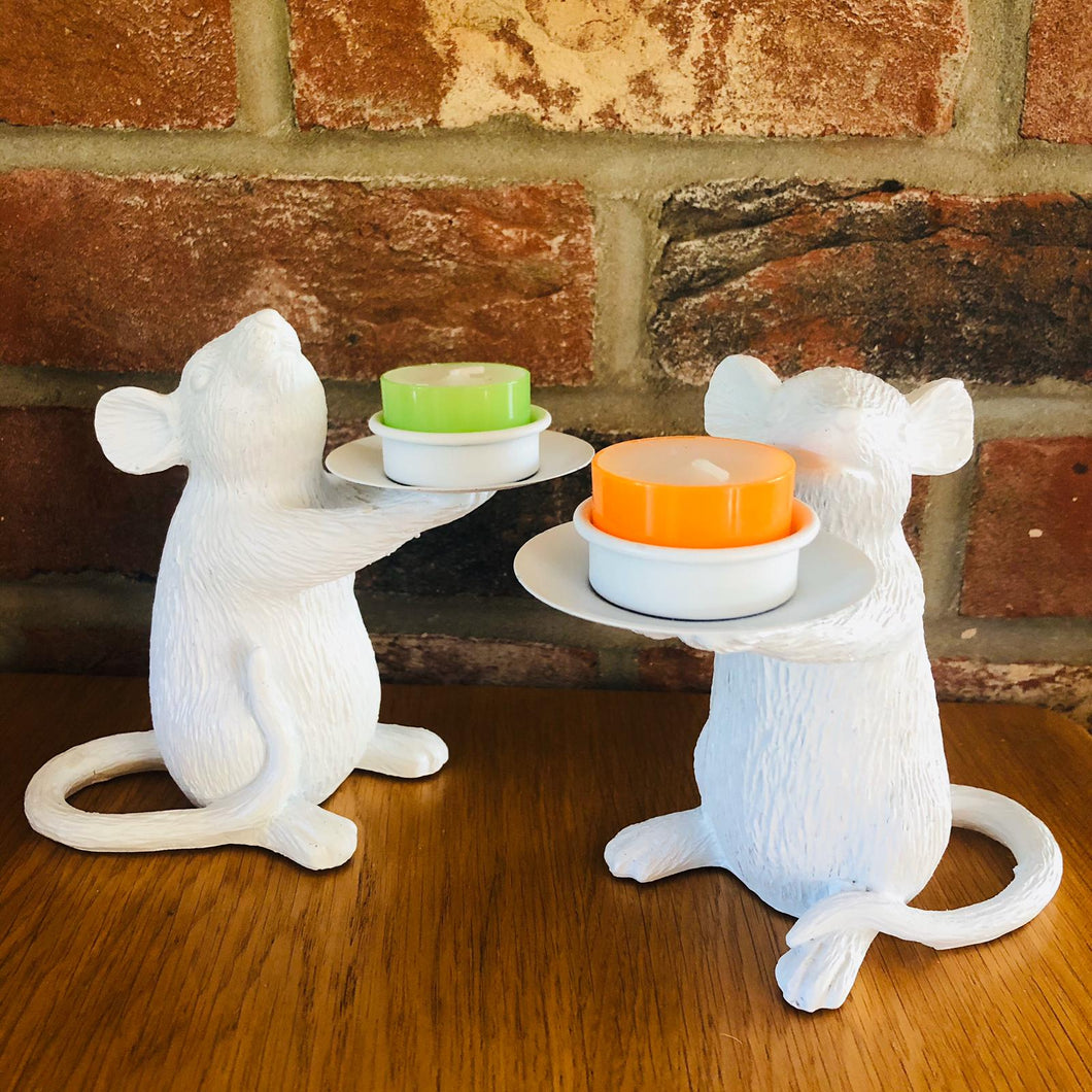 Pair of White Mice Candlestick Holders - ad&i