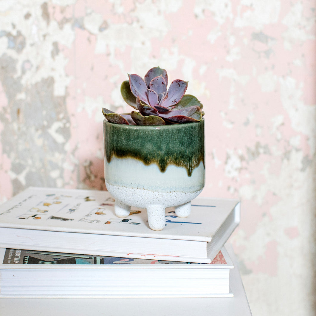 Mojave Glaze Green Planter on Legs - ad&i