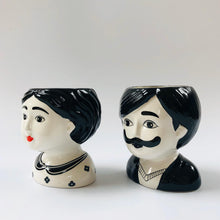 Load image into Gallery viewer, Man and Woman Couple Ceramic Small Plant Pots Set of Two - ad&i