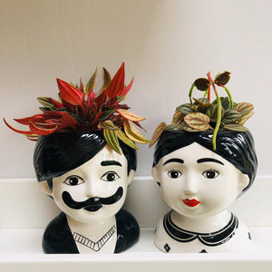 Man and Woman Couple Ceramic Small Plant Pots Set of Two - ad&i