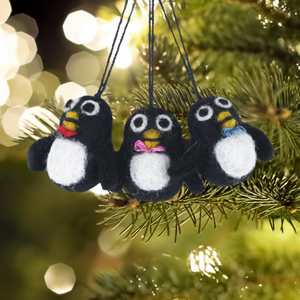 Mini Penguins Bag of 3 Christmas Tree Decorations - ad&i