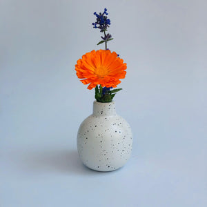 Small Round White Dotted Ceramic Vase - ad&i