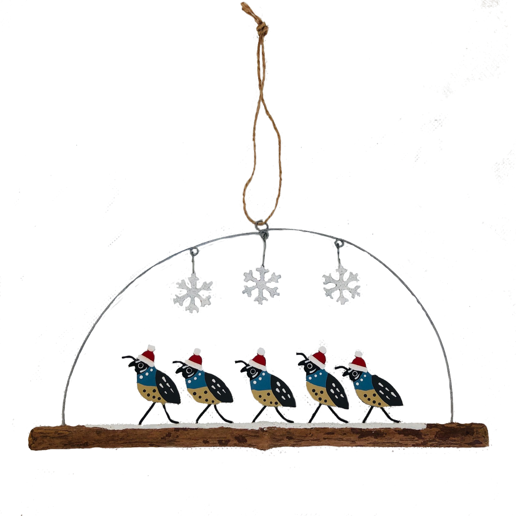 Quails on a Twig Christmas Decoration