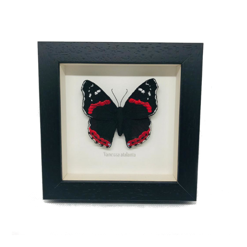 Embroidered and Painted Red Admiral Butterfly Framed Wall Art