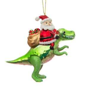 Dinosaur and Santa Shaped Christmas Tree Decoration