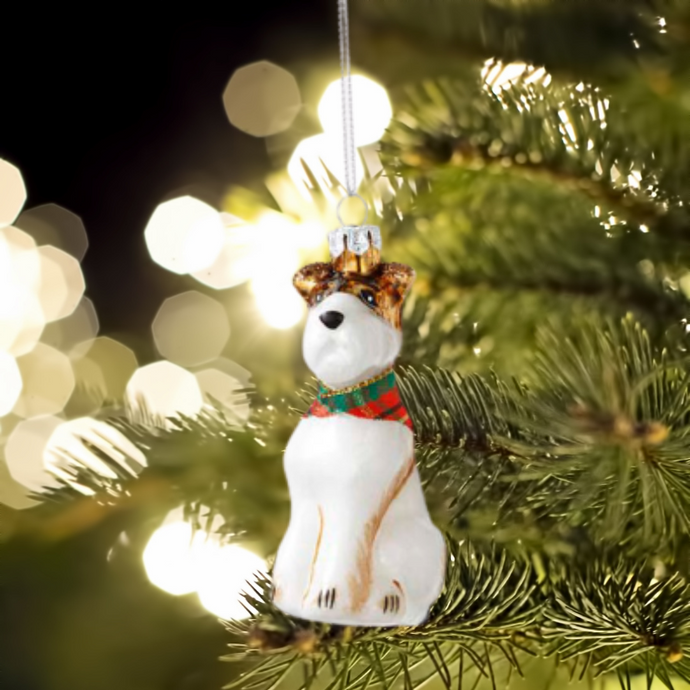 Scottie Dog Glass Christmas Tree Decoration