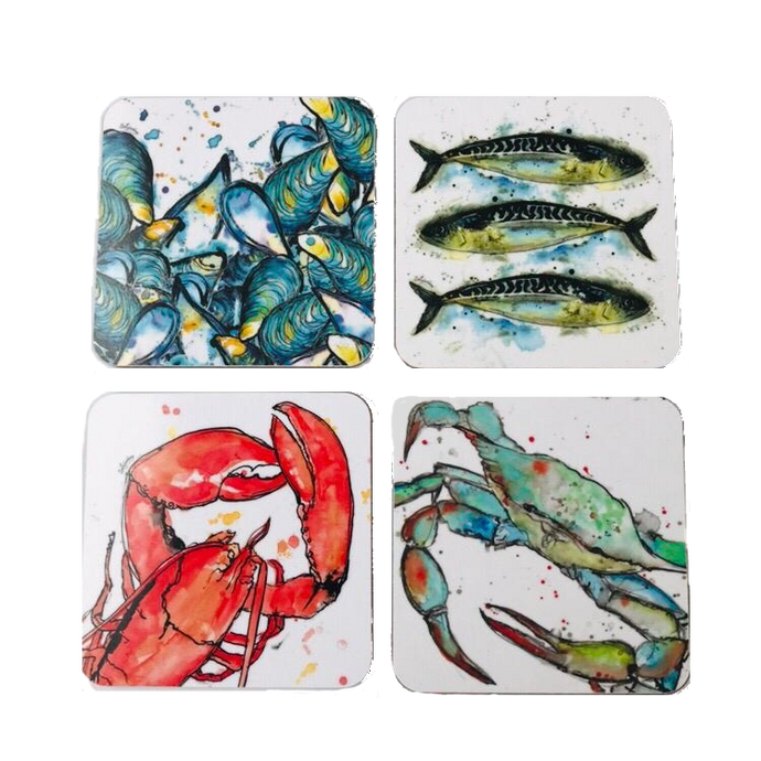 Mixed Seafood Coasters Set of 4