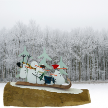 Load image into Gallery viewer, Sledging Snowmen Christmas Table Top Decoration - ad&i