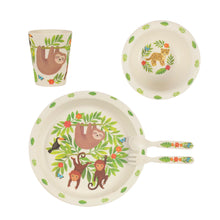 Load image into Gallery viewer, Sloth and Friends Bamboo Nursery Tableware Set