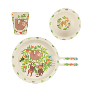 Sloth and Friends Bamboo Nursery Tableware Set