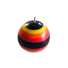 Load image into Gallery viewer, Orange Flame, Neyron Rose, Sulphur Yellow and Jet Black Small Stripe Ball Candle - ad&i