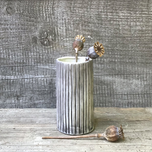 Textured Striped Hand Painted Mini Vase - ad&i