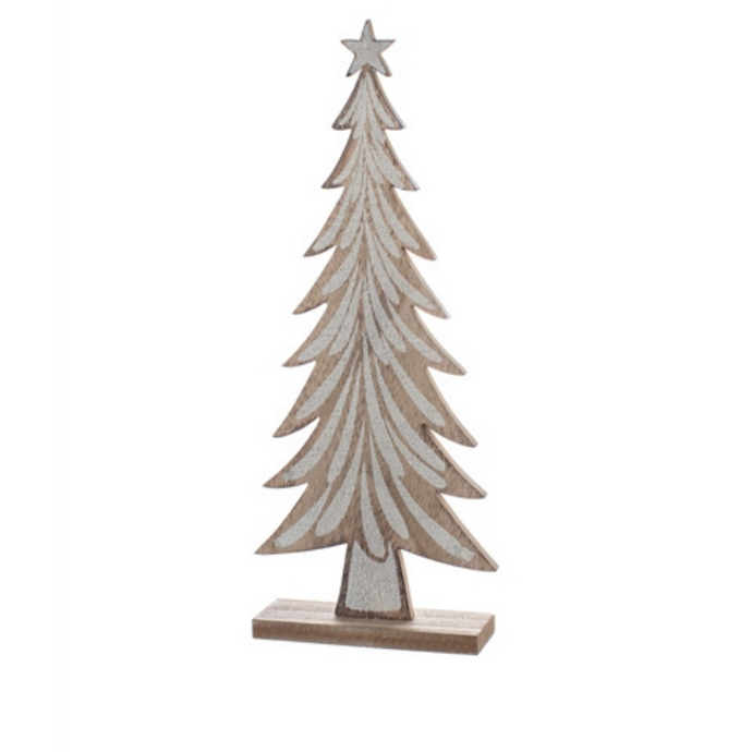 Snow Flecked Wooden Tree Table Top Decoration