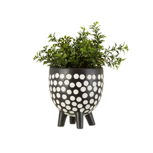 Load image into Gallery viewer, Black and White Spotty Planter on Legs