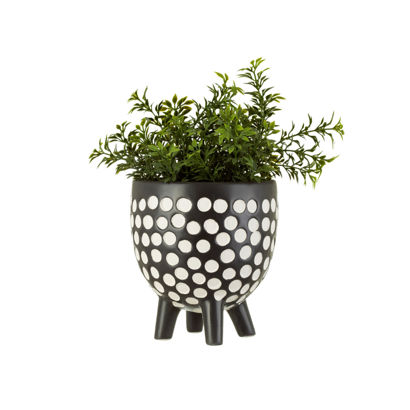 Black and White Spotty Planter on Legs