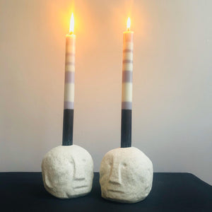 White Stoneware Face Imprint Candlestick Holder - ad&i