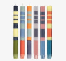 Load image into Gallery viewer, Mixed Three Colour Striped Candlesticks Set of Six - ad&i