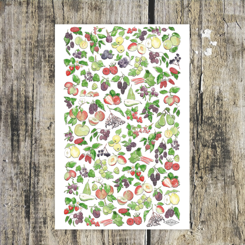 Fruits Of The British Isles Tea Towel