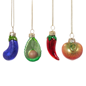 Set of Four Fruit and Veg Christmas Tree Decorations