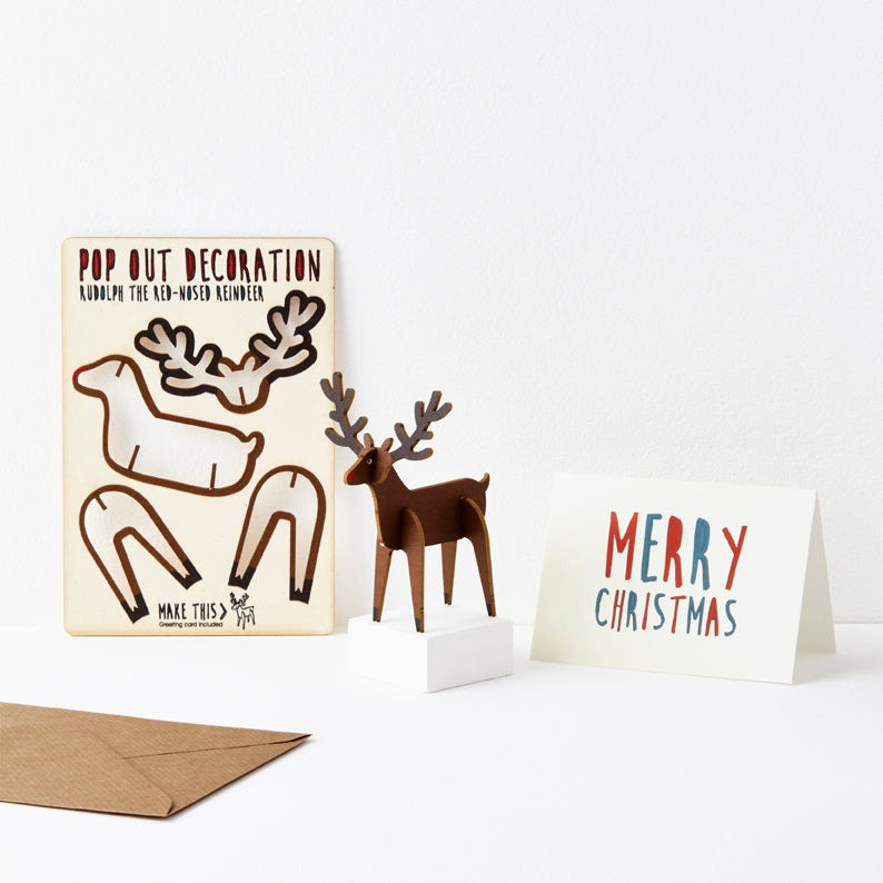 Pop Out Rudolph the Red Nose Reindeer Christmas Card