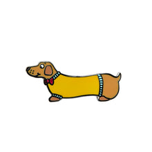 Load image into Gallery viewer, Sausage Dog Enamel Pin Badge
