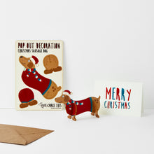 Load image into Gallery viewer, Pop Out Sausage Dog Christmas Card - ad&i