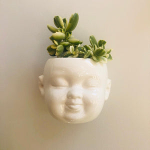 White Ceramic Baby Face Wall Planters Set of Three - ad&i
