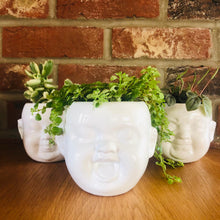 Load image into Gallery viewer, White Ceramic Baby Face Wall Planters Set of Three - ad&i