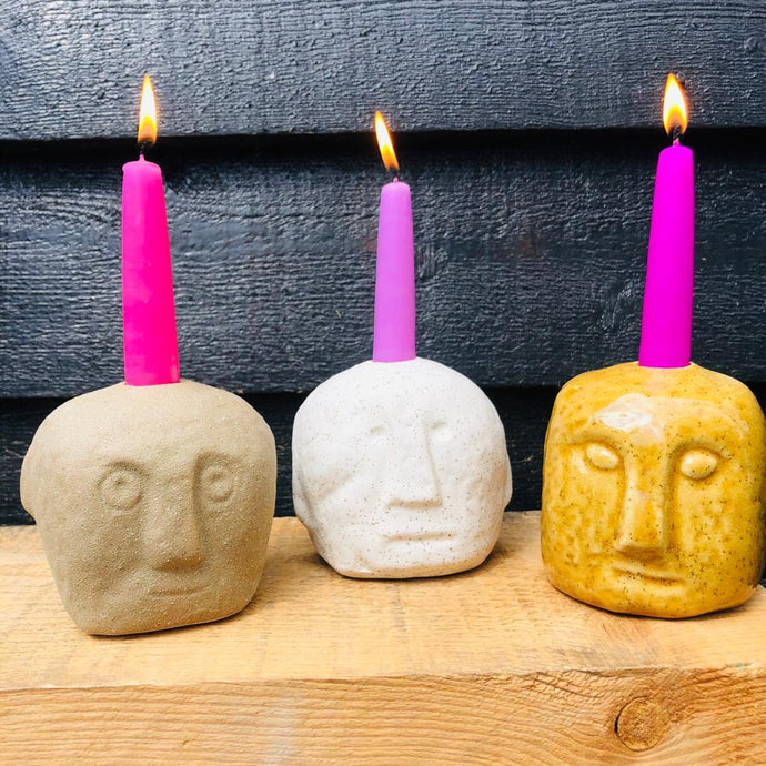 Stoneware Face Imprint Candlestick Holder