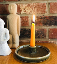 Load image into Gallery viewer, Green Stoneware Candlestick Holder