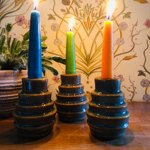 Glazed Stoneware Layered Candlestick Holder