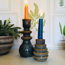 Load image into Gallery viewer, Tall Glazed Stoneware Candlestick Holder