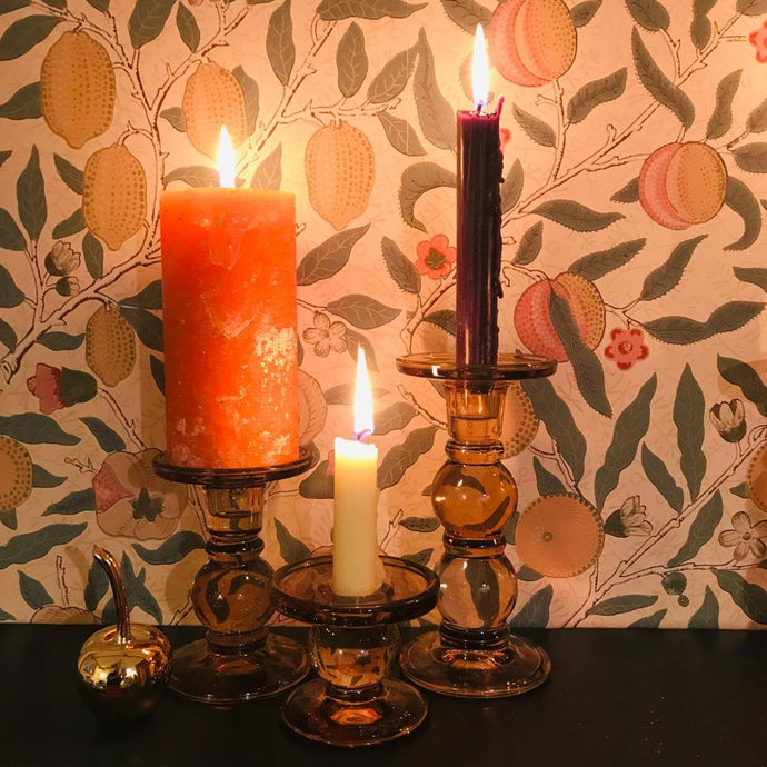 Orange & Cinnamon Scented Gold Marbled Pillar Candle