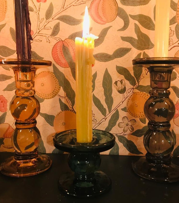 Short Coloured Glass Candlestick Holder