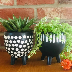 Black and White Grooved Stripe Planter on Legs