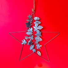 Load image into Gallery viewer, Silver Leaf Decorated Metal Star