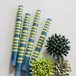 Saxe Blue & Primrose Yellow Striped Candlesticks Set of Four