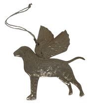 Load image into Gallery viewer, Pressed Silver Decorative Hanging Angel Dog