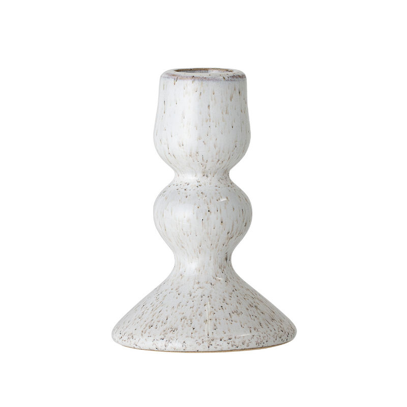 White Stoneware Candlestick Holder