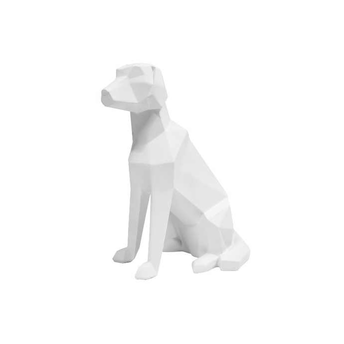 3D Sitting Dog Geometric Ornament - White