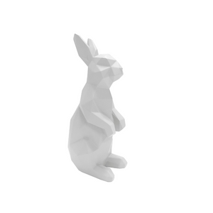 3D Standing Bunny Rabbit Geometric Ornament - White - ad&i