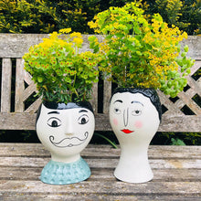 Load image into Gallery viewer, Ceramic Doodle Man's Face Vase - Moustache - ad&i